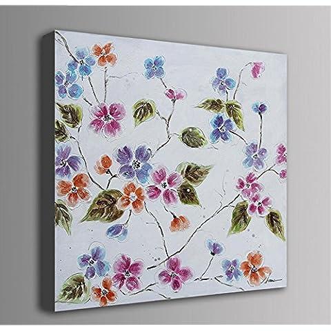 X&L Puro pintado mano moderna moda abstracto pintura moderna Inicio Hotel salón escuela 1 pinturas sin marco madera pintada (flores como el algodón) , 100*100cm no box