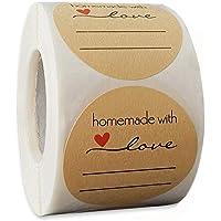 500 Pezzi Etichette Round Kraft, 5cm/2in Etichette Autoadesivo Homemade with Love, Adatti per la Cottura di e Adesivi…