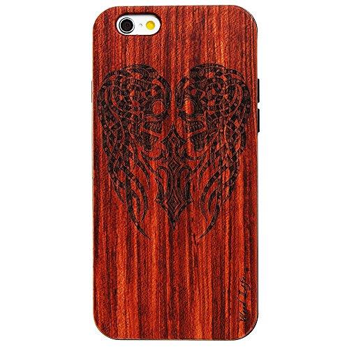 Handy Schutzhülle für iPhone 5 5S SE Forepin® Echtem Holzhülle auf Kunststoff Ultraslim Handyhülle - Hart PC Bumper Case für iPhone 5 5S SE SmartPhone, Tiger Schädel