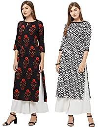 GoSriKi Women's Multicolor Printed Straight Kurta Pack of 02
