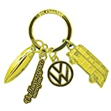 Official Volkswagen VW Campervan Gold Tone Metal Charm Retro Keyring