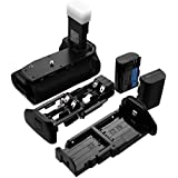Powerextra BG-E14 Battery Grip + 2-Pack High Capacity 2600mAh LP-E6/LP-E6N Batteries With Infrared Remote Control Replacement For Canon EOS 70D/80D Digital SLR Camera