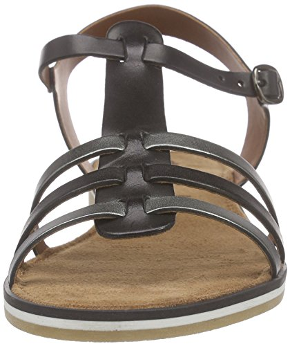 Tamaris - 28190, Scarpe col tacco con cinturino a T Donna Nero (Schwarz (BLACK/PEWTER 099))