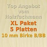 XL Paket 5 Platten 10mm Birke Sperrholzplatte Qualität B/BB (152 x 50cm) GP 23,94 €/m²