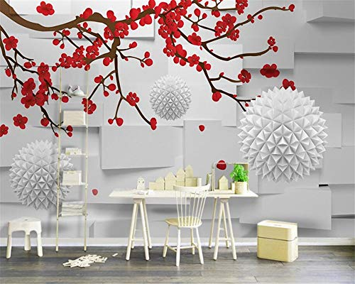 Preisvergleich Produktbild XIAOMENG Wallpaper Hintergrundbild 3D Wallpaper Modern Stilvolle 3D Space Abstract Pflaumenblüte Big Tree Ball TV Hintergrund Wall 3 Fototapete,  L300 * W210Cm