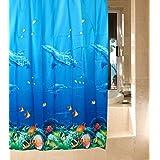 Delfín peces tropicales Coral diseño marino para bañera y ducha cortina con 12ganchos-72x 72, azul