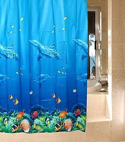 Duschvorhang aus Stoff Dekorative Bunt Ocean Thema mit 12 Stück Plastikringe Duschvorhangringe