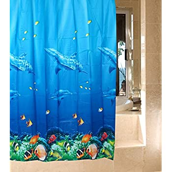 This Item Dolphin Tropical Fish Coral Ocean Theme Bath Shower Curtain With  12 Hooks Multicolor