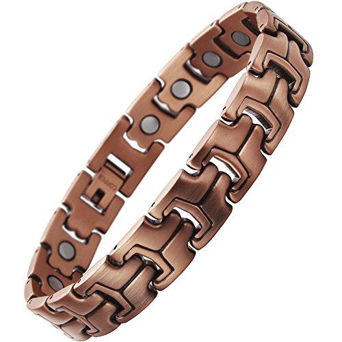 Herrenarmband aus reinem Kupfer von VITEROU, magnetisches Armband mit sehr starken Magneten zur Schmerzlinderung für Arthritis, einstellbar, 3.500Gauss