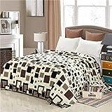 16, 200X230Cm : Star Plaid Printing Modern Soft Brown/Grey/Blue Solid Color Flannel Blanket Home/Bed/Sofa 120X200/150X200/200X230Cm