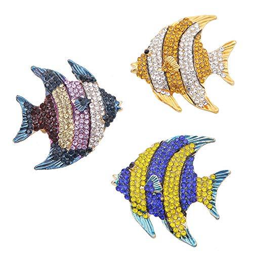 3 Stück zarte Clownfische Blau Gold Multicolor Kristall Emaille Tropische Meer Tier Fisch Revers Brosche Anstecknadel Kreative Brosche Anstecknadel für Party Geschenk Schmuck Zubehör Rucksack Dekor -
