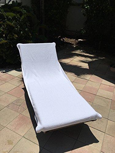 Globaltex Fine Linens Chaise Lounge Stuhl Baumwolle Handtuch mit Lasche (81,3x 221cm)-(weiß) - Handtücher Türkische Weiße