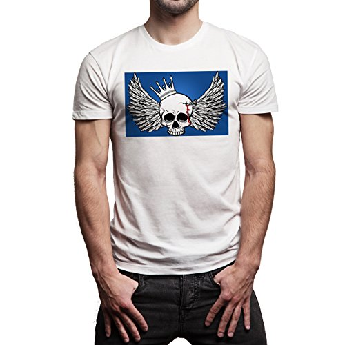 Skull With Wings Blue Back Background Herren T-Shirt Weiß