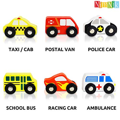 NimNik Wooden Toys for Toddlers - Cars Postman Van School Bus Police Vehicles Birthday Gifts For 5 6 7 8 9 10 years old