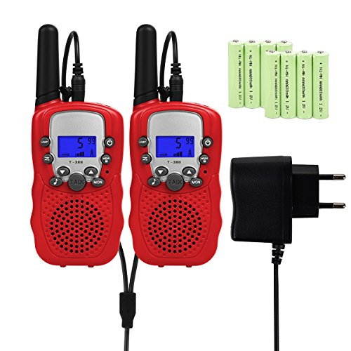 Upgrow RT-388 Walkie Talkies für Kinder Funkgeräte mit Akkus Aufladbar Kinder Funkgerät Funk Handy, 8 Kanäle mit LCD-Display, Reichweite 3Km (Rot) Walkie-ladegerät