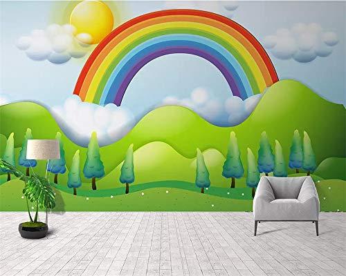 andbemalte regen regenbogen kinderzimmerhintergrund wand wohnzimmerschlafzimmerdekoration, 300x210cm ()