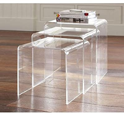 Homcom 3pc Acrylic Perspex Nesting End Table Coffee Table Set Side Table Display Steps Clear produced by Mhstar - quick delivery from UK.