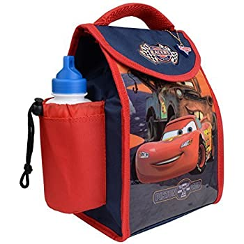 Character Kids Children Lunch Box Bag With Sport Water Bottle Cars