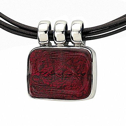 """Gabriella Nanni, collier en coton ciré avec centrale en argent 925et verre de Murano-Verre Non déclaré-Collier Rectangle """" rouge"""