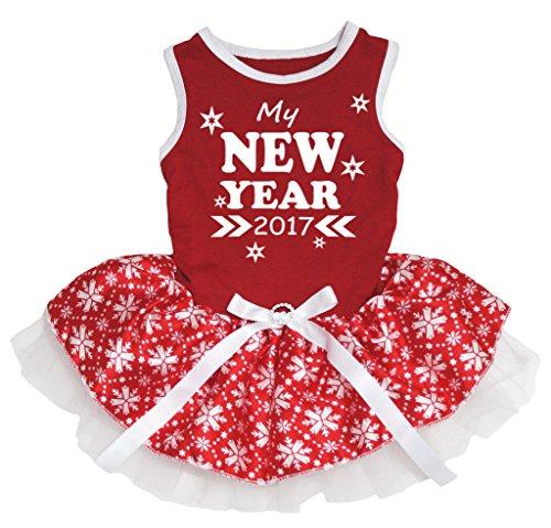 petitebelle Hund Kleid My New Jahr 2017Sterne rot Baumwolle Schneeflocke (Jahr 2017 Kostüm)