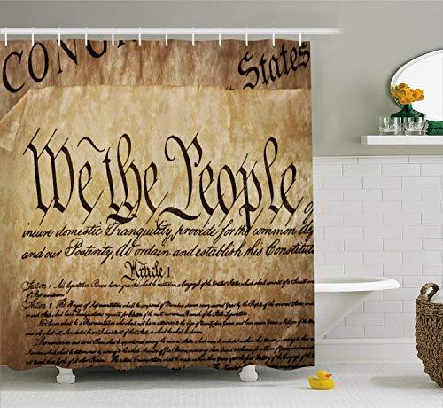 WvtsUcykyga Vereinigte Staaten Duschvorhang Vintage Verfassung Text von Amerika Nationalen Ruhm 4. Juli Bild Tuch Stoff Badezimmer Dekor Set mit Haken 180 cm Hellbraun