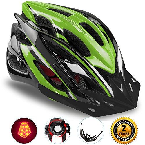 Shinmax Specialized Bike Helm mit Sicherheitslicht, Verstellbare Sport Fahrradhelm Fahrrad Fahrradhelme für Road & Mountain Biking, Motorrad für Erwachsene Männer und Frauen, Jugend - Racing, Sicherheit Schutz (Schwarz Grün-Großes Licht)