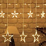 Lovelyhome Curtain String Lights, 2.5m 12 Stars 138 LED Window Curtain Lights Fairy Star Lights with 8 Flashing Modes Indoor Outdoor Diwali Decoration String Lights for Christmas Wedding Party Home Garden, Warm White