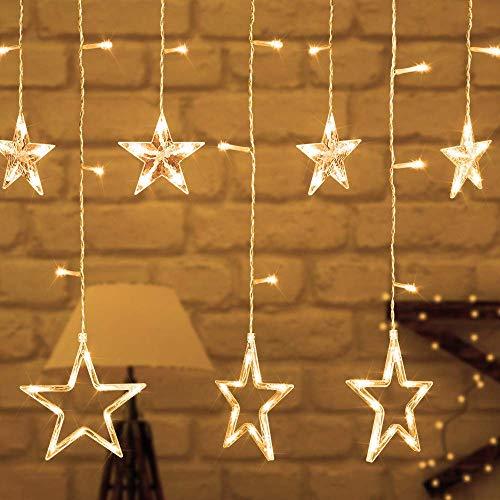 (AIZESI Sternenvorhang LED WarmWeiß Lichterkette Sterne Gelb,Vorhang Lichterketten,12 Sterne 138 LED Lichter mit 8 Modi Dekoration für Weihnachten, Hochzeit,Party,Haus,Terrasse Rasen(Gelbes Licht))