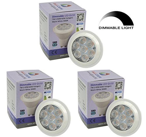 3 Pack: Allcam Dimmable Dimmbar LED GU10 Bulbs 5W Bright Daylight Cool White 6000K kaltweiss, Replace 35-50W Halogen Lights, 48mm Height, Perfect as LED Spotlight or Downlights -