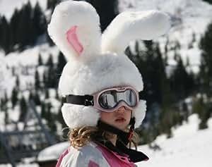 Crazy White Rabbit Ski Helmet Cover With Large Flexable