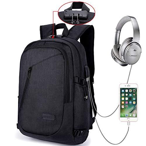 Mochila Antirrobo Impermeable, Mochila Para Portátil Multiusos Mochilas Escolares con Puerto de Carga USB - Negro