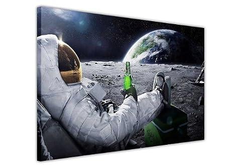 Impression sur toile 30x Relaxant la NASA astronaute avec bière sur la lune Looking At Terre Photos de décoration imprimé tableau Home Art d