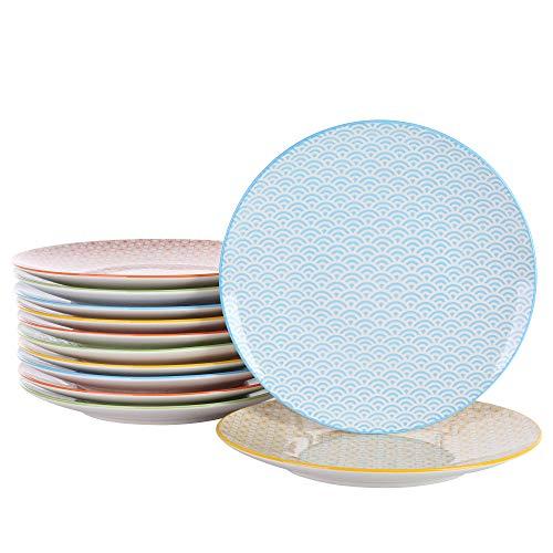 Vancasso, Natsuki Porzellan Speiseteller, 12 teilig Rund Teller Set, Ø 27 cm Große Flachteller, Bunt 12 Teller Set
