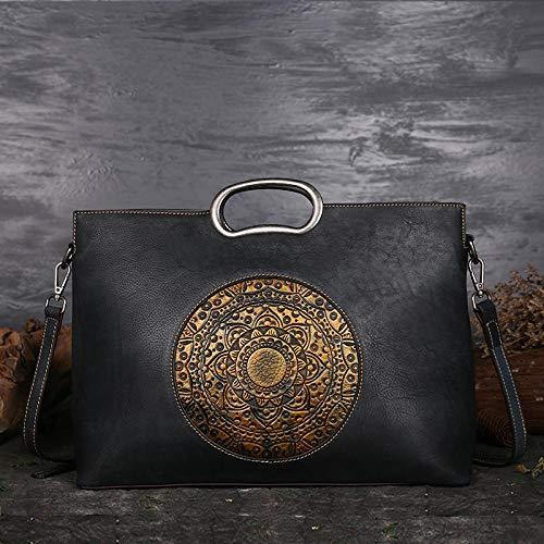 Pamabag Echtes Leder Damen Tasche,Vintage Schwarz Echtes Leder Damen Handtasche Umhängetasche Classic Totem Geprägte Große Kapazität Tote Bag Mode Elegante Schulter Kuriertasche (Gefüttert Tote Geprägte)