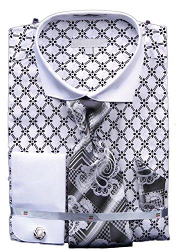 Men's, French Floral Shirt, Krawatte, Manschettenknöpfe, Einstecktuch und Manschettenknöpfe Weiß