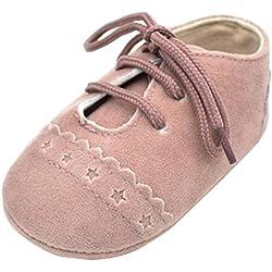 Zapatos De Bebé, Amlaiworld primeros pasos para niño niña zapatillas de bebé antideslizante de encaje hasta zapatos 0-18 Mes (Tamaño:0-6Mes, Rosa)