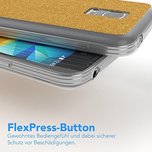 Samsung Galaxy S5 Mini Hülle - EAZY CASE Handyhülle - Ultra Slim Glitzer Schutzhülle aus Silikon in Gold Glitzer Gold