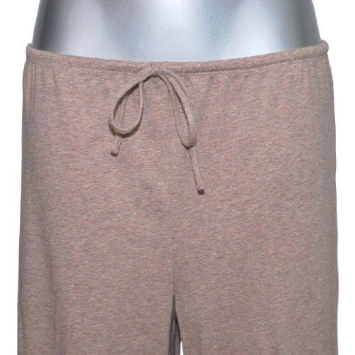 MelanieM T-Shirt Pyjama lang Single Jersey Feinripp gebürstet beige taupe