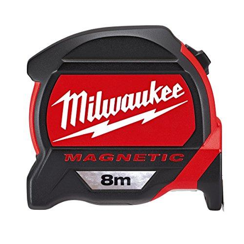 Milwaukee Premium-Bandmaß magnetisch 8 Meter 48227308, Rot/Schwarz (Maßband 8m)
