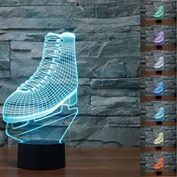 Ice Skating Roller Skates 3D LED Night Light Lamp 7 Color Change LED Touch USB Table Gift Kids Toys Decor Decorations Christmas Valentines