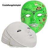 trendmarkt24 Kinder-Gesichts-Masken 12 Stück mit Gummizug ✓ weiße Karneval-Masken Kunststoff ✓ Fasching-s-Masken-Set Blanko / unbemalt ✓ Kunststoffmaske ca. 18x14 cm ✓ Kindermaske Maskenball 20520