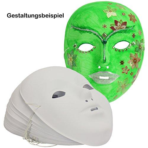 Kinder-Gesichts-Masken 12 Stück mit Gummizug ✓ weiße Karneval-Masken Kunststoff ✓ Fasching-s-Masken-Set blanko / unbemalt ✓ Kunststoffmaske ca. 18x14 cm ✓ Kindermaske Maskenball | trendmarkt24 - (Halloween Billig Paare Kostüme Lustige)