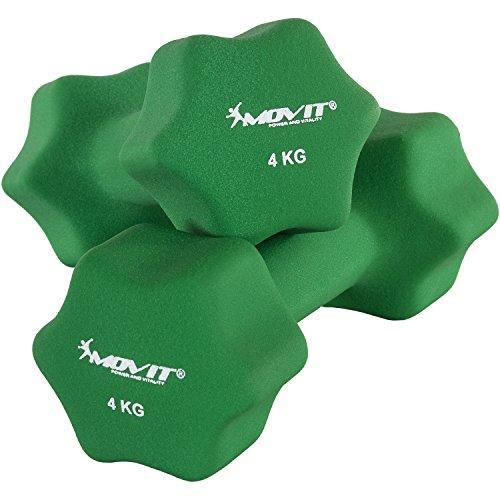 Movit Set di Due manubri Neoprene Pesi Palestra Manubrio con Una Sola Mano con Superficie in Neoprene Antiscivolo in Verde Scuro a Peso 2X 4,0 kg