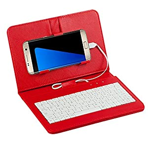 "Tonsee General Wired Keyboard Flip Holster Case For Andriod Mobile Phone 4.2""-6.8"",Rot"