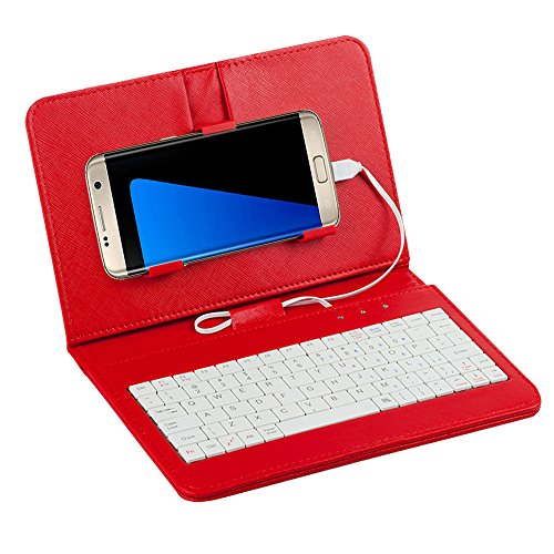 Tonsee General Wired Keyboard Flip Holster Case For Andriod Mobile Phone 4.2\'\'-6.8\'\',Rot