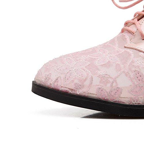 VogueZone009 Damen Weiches Material Schnüren Rund Zehe Mittler Absatz Rein Pumps Schuhe Pink