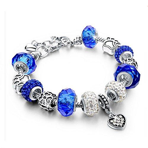 Beloved ❤️ Braccialetto da donna con cristalli bracciale compatibile pandora con beads bead placcate argento vetro e cristalli ciondolo charm