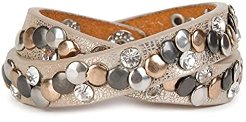 styleBREAKER vintage rivets bracelet with rhinestones and different colored rivets, wrap bracelet, women 05040002, colour:antique beige