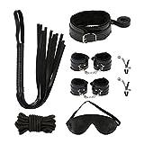 Bondage Set, Meerveil SM Set BDSM Fesselset mit Handschellen, Augenmaske, Halsband mit Seil, Bondage Seil und Peitsche, 7-teiligen SM Spielzeug für Paare