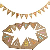 G2PLUS HAPPY BIRTHDAY Burlap Bunting Banner, 15.7 Feet Jute Vintage Garland with 17 Flag Pennants, Hessian Vintage Cloth Shabby Chic Decoration for Birthday Parties
